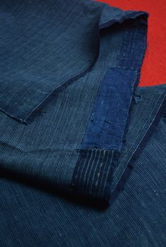 "Etsy のEAC44/60 Vintage Japanese Fabric Cotton Momen Antique Boro Patch Indigo Blue SHIMA 39.3""(ショップ名:WantiquesStyle305)"