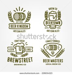 Set of vintage monochrome badge, logo templates and design elements for beer house, bar, pub, brewing company, brewery, tavern, restaurant (mug, glass, barrel, wheat, hop icons)