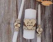 Unity Candles Rustic Wedding Candles ceremony Burlap candles