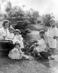 Rose Kennedy and her children, circa 1923. L-R: Rose Kennedy, Eunice Kennedy, Kathleen Kennedy, Rosemary Kennedy (seated in foreground), John F. Kennedy, and Joseph P. Kennedy, Jr. -- Bachrach Studios photograph in the John F. Kennedy Presidential Library and Museum, Boston, Mass.