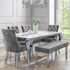 dinning room Jade Boutique White Dining Table with 4 Jade Grey Velvet Chairs & 1 Bench White Dining Table, Dining Set With Bench, Luxury Dining Tables, Dinning Room Tables, Luxury Dining Room, Dining Table Design, Dining Chairs, Dining Decor, Dining Sets