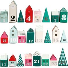 This adorable set of assorted houses, buildings and tree shed boxes serves as an advent calendar that will delight your family. Just pop the shapes together for a colorful display. Paper Source