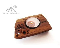 Artisan wooden candle holder hand carved by NikibarsNatureArt