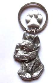 Boston Terrier keyring with lovely paw charm, made from finest pewter. Authentication stamp of U.S manufacturer on reverse. Available in UK - price includes VAT & UK postage.