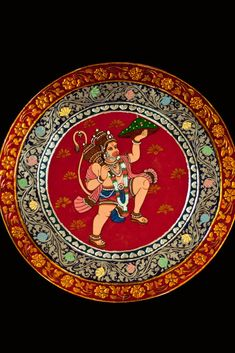Finished product of kinnal painting with lord hanuman figure in the center. Shiva Art, Krishna Art, Hindu Art, Hanuman Pics, Shri Hanuman, Hanuman Images Hd, Durga Images, Mysore Painting, Madhubani Painting