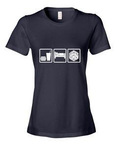 ce20eb428fa196 Eat Sleep Role Jersey Knit Women s T-Shirt White Ink