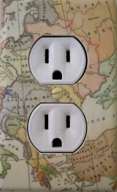 Outlet Cover / Map / Travel / Yellow / by MyOtherFootsLaughing, $6.50