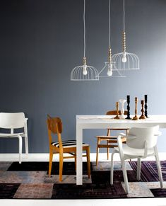 The mismatching chairs and quirky lights are a great match!