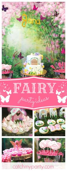 Don't miss this gorgeous Enchanted Forest Fairy 1st birthday party! The sugar coated cookies are so pretty!! See more party ideas and share yours at CatchMyParty.com #party #fairy #woodland  #1stbirthday