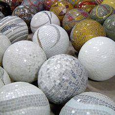 gazing ball beautiful spiral pattern from a bowling ball