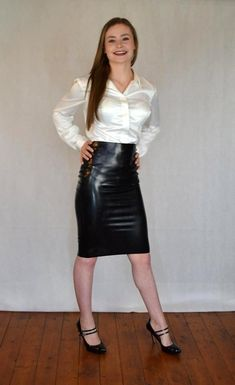 Dedicated to all things silk,satin. Tight Pencil Skirt, Pencil Skirt Outfits, Black Leather Skirts, Leather Dresses, Sexy Blouse, Blouse And Skirt, Satin Skirt, Satin Dresses, White Satin Blouse