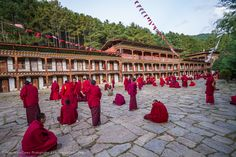 300 Buddhist monks debate at the Bumthang Valley in central Bhutan.