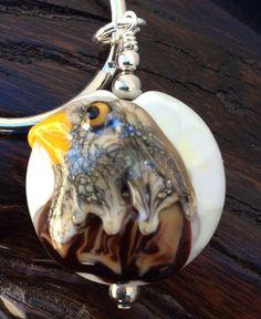 Golf Eagle Lampwork Glass Key Ring, Golf Key Ring, Eagle Key Ring, Golf Ball Key Ring, Golf Gift by ASplashOGlass on Etsy