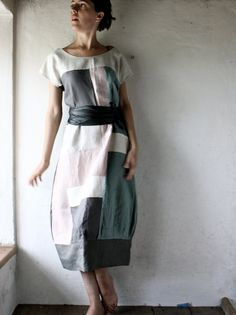 Linen Tunic dress in patchwork linen grey and white