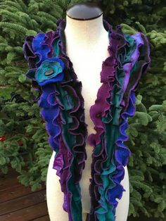Romantic Ruffled Scarf Stole Collar, Handcrafted from Upcycled Clothing, Wearable Art, #SCF167