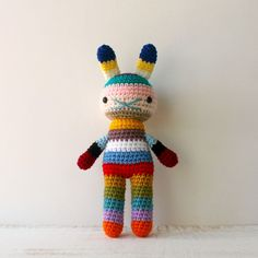 children easter rabbit toy, crochet amigurumi doll, bright colorful rainbow
