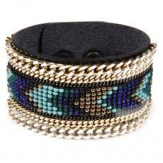 Bracelet en cuir noir Sioux avec triple chaines et perles
