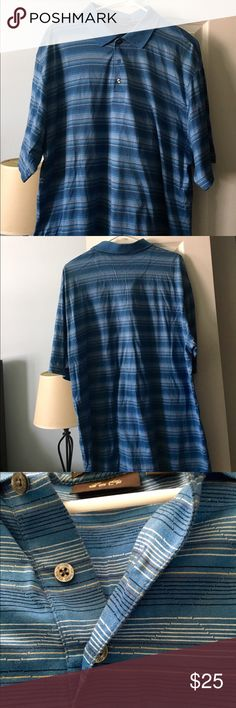 Tasso Elba Blue Striped Men's Golf Shirt | Large Tasso Elba Blue Striped Men's Golf Shirt size large. Good condition. Tasso Elba Shirts Polos