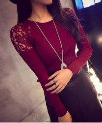 Jewel Neck Long Sleeves Solid Color Lace Splicing Stylish Sweater For Women (WINE RED,ONE SIZE(FIT SIZE XS TO M)) | Sammydress.com Mobile