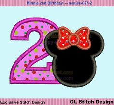 minnie mouse 2nd birthday applique