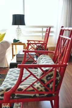 bamboo #chairs, KW imperial trellis #fabric