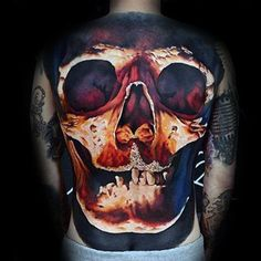 50 Skull Tattoo Designs for Men - Cool Cranium Ink Ideas - Herrenstil und mode - Tatuagem Cool Back Tattoos, Small Back Tattoos, Back Tattoos For Guys, Back Tattoo Women, Amazing Tattoos, 3d Tattoos, Skull Tattoos, Sleeve Tattoos, Tatoos