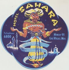 Coaster from the Hotel Sahara in Las Vegas, Nevada.   Not sure of the date.     Las Vegas Hotels Clubs Shows