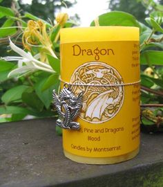 This Dragon aromatherapy essential oil candle is made with Pure Essential Oils of Juniper and Pine with Dragons Blood Oil available at Mind Body Soul Essentials