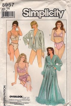 Simplicity 8957 1980s Misses  Lingerie Peignoir Robe Bed Jacket, Bra, Bustier, Garter Belt and Panties womens vintage sewing pattern  by mbchills