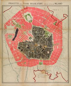 Urban projects map of Milan, 1884