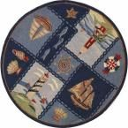 Chelsea Blue 3 ft. x 3 ft. Round Area Rug