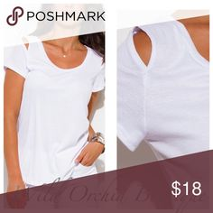 🆕CUT OUT RIBBED TEE White cut out ribbed tee. Features scoop neck and cut out at shoulders. S-M-L. Ribbed knit rayon jersey. 95% Rayon 5% Spandex. Made in USA.    🌸Reasonable offers are considered on all listings if that listing is not on sale or marked firm🌸Ty💕 Tops Tees - Short Sleeve