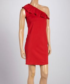 This Red Ruffle Sleeveless Asymmetrical Top - Women & Plus by Shane Lee is perfect! #zulilyfinds