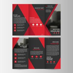 Red black triangle business trifold Leaflet Brochure Flyer report template vector minimal flat design set, abstract three fold. Photo about element, fold, layout, folder - 89761831 Graphic Design Brochure, Corporate Brochure Design, Business Card Design, Brosure Design, Flyer Design, Layout Design, Design Ideas, Brochure Indesign, Template Brochure