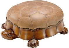 Don't be slow to invite this adorable turtle ottoman into your home. The resin base supports the turtle's genuine leather shell. Leather Furniture, Unique Furniture, Kids Furniture, Furniture Design, Wood Turtle, Turtle Love, Leather Footstool, Leather Design, Hand Carved