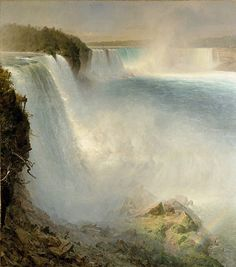 Niagara Falls, from the American SideChurch's large canvas captures magnificently the drama of Niagara Falls, one of his country's most famous landmarks. This painting, based on a drawing Church made at Niagra in July 1856 and on a sepia photograph touched with colour, was commissioned by the New York art dealer Michael Knoedler in 1866. It may originally have been destined for the Universal Exhibition in Paris, as Church was selected to represent America there. It was bought in 1887 by John…