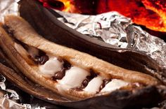 Make mouth watering Banana Boats on your campfire or in your RV... this and more very yummy camping dessert recipes you can make at the campground or even at home! :)