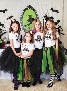 A Witchy Halloween Party DIY witch costumes, broom candy kabobs, ghoulish cake pops, Halloween tablescape including potion bottle beverages & spider leg cupcakes