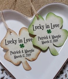 Lucky in Love - Thank you tags-Liquor Bottle Tags/ Gift Tags/Shower tags/Wedding Favor Tags/Party favor tags/Shamrock-Clover tag-St Patricks Party Favor Tags, Wedding Favor Tags, Party Favors, Baby Shower Tags, Love Tag, Lucky In Love, Wine Tags, Thank You Tags, Liquor Bottles