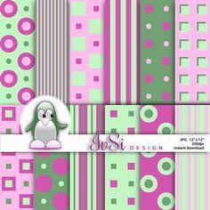 Squares, polka dots digital paper pack, soft green papers, scrapbook paper, digital background, pattern, pink stripes, SALE until April 30th by IvSiDesign on Etsy