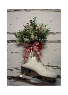 christmas ice skate christmas decor christmas wreath door decor vintage cottage french market winter skate country