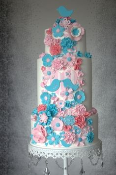 Pink and Teal Wedding Cake By aimee_jane on CakeCentral.com