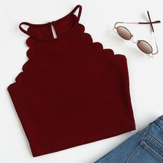 Cheap top for, Buy Quality summer camisoles directly from China sexy tops for women Suppliers: SHEIN Scallop Trim Halter Top Summer Camisole Women Tops Burgundy Sexy Tops for Womens Vest Top Sleeveless Cami Top Teenage Outfits, Teen Fashion Outfits, Trendy Outfits, Summer Outfits, Girl Outfits, Cute Outfits, Womens Fashion, Summer Clothes, Fashion Dresses