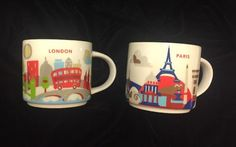 Starbucks London Paris Mug YAH Set You Are Here Big Ben Eiffel Tower Coffee Cups #Starbucks