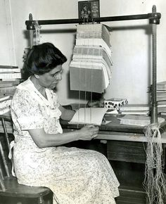 May 22, 1938: In 1937, the Boston Public Library rebound 75,000 books. Library employee Nettie Bandiera is shown here preparing to do a job of hand stitching to the 1938 collection. A study by the library at this time showed that books averaged just five lendings before they came to the bindery for rebuilding.  Boston Globe Archives. (Though this was before my time, I used to love the rebound library books: so many neat designs. rw)