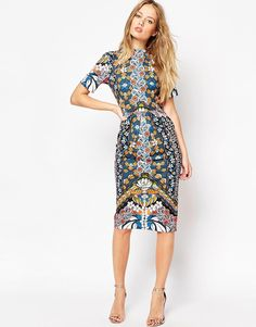 ASOS+Wiggle+Dress+in+Bright+Border+Print