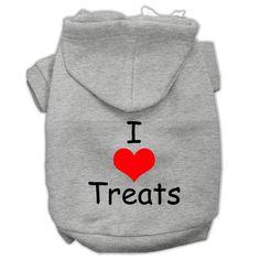 I Love Treats Screen Print Pet Hoodies Grey Size XL (16)