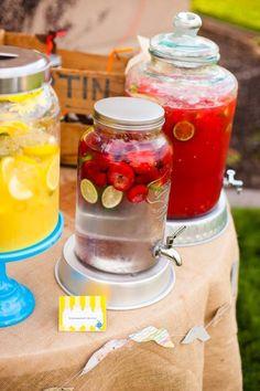 Jars of sweet tea, fruit flavored water, mason jars wedding table decor #2014 Valentines day wedding #Summer wedding ideas www.dreamyweddingideas.com
