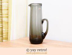 Tall 70s Smoked Crystal Glass Jug (£15.50)