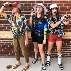 hippie outfits for school spirit week \ hippie outfits ; hippie outfits for school ; hippie outfits for school spirit week ; Tacky Tourist Outfits, Tacky Tourist Costume, Hallowen Costume, Group Halloween Costumes, Halloween Outfits, Costume Ideas, Last Minute Halloween Costumes, Homecoming Spirit Week, Tacky Day